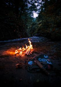 bonfire making in the woods